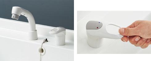クリック感のある水栓金具で湯水の使い分けが簡単!省エネ効果も高い