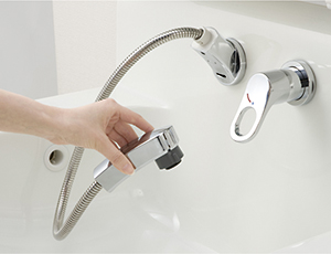 エポックは壁出し水栓で衛生的!汚れが溜まりにくい設計