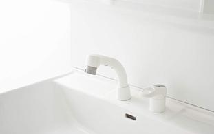 シャンピーヌの水栓は便利な「シャワーヘッド付き」エコシングル水栓!